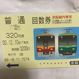 京阪電鉄回数券 カード式8000系7000系