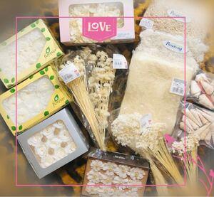 特価!( ホワイト花材set!) プリザーブド花材 ハーバリウム・ドライフラワー花材 ( 未使用 )