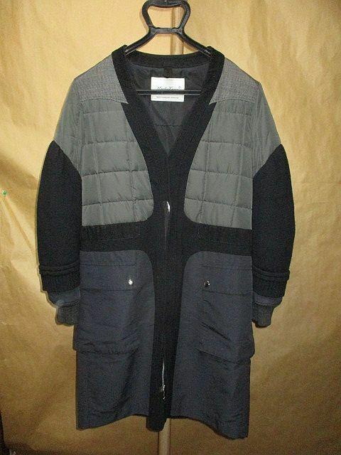 アンダーカバー 08AW 異素材 MIX ドッキング コート 黒2