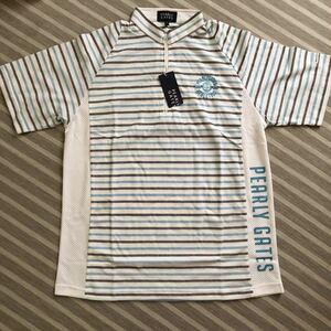 新品 未使用 パーリーゲイツ PEARLYGATES ゴルフウェア golf ボーダーシャツ サイズ5 L 水色 ポロシャツ ホワイト ブルー ハーフジップ