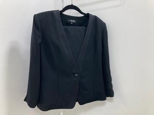 904* IGIN 東京いぎん ブラックフォーマル スーツ スカート 冠婚葬祭 礼服 長袖 日本製 15AR 15号 ウエスト73cm 現状品