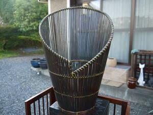 【1Ju16 O】中古 花器 竹編み 照明器具 ペンダント ランプシェード お洒落な照明 アンティーク 竹細工
