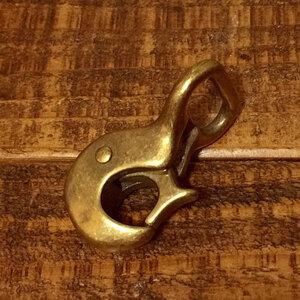 ピストル ナスカン 真鍮 無垢 ブラス 18mm レザー ベルト 革 1.8cm フック カスタム キーホルダー レザークラフトに kn-10-18