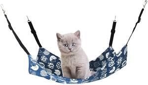 ペットハンモック 猫50x40cm 6 kgまで冬夏両用 調節可能(ネイビー)