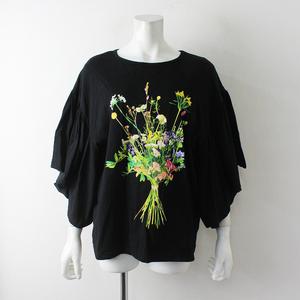 美品 2020AW FRAPBOIS フラボア 20周年 フラワーカット ギャザースリーブTシャツ1/ブラック黒 花柄 トップス【2400012398788】