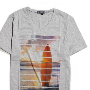 【新品】 サーフプリント Vネック Tシャツ 半袖 ■ Lサイズ / グレー 灰 ■ タイト スリムタイプ サーフ プリントT f07