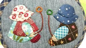 ◆スーちゃん ポーチ 手作り ハンドメイド 手縫い パッチワーク キルト すーちゃん 小物入れ 化粧ポーチ 個性的 可愛い 青 紺 ブルー 丁寧