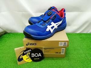 未使用品 asics アシックス 安全靴 ウィンジョブ ブルー/ホワイト 25.0cm ワイドタイプ WINJOB CP209 BOA