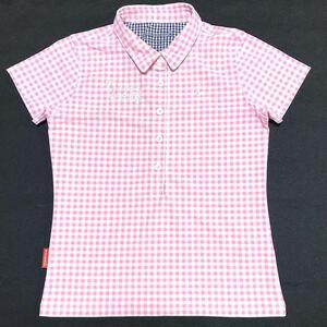 【美品】Le coq GOLF ルコックゴルフ 半袖ポロシャツ レディースM ピンク チェック ロゴ刺繍 ポリエステル 吸汗速乾 ウェア デサント社製