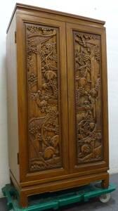 高級 棚 整理棚 箪笥 チェスト 収納 引き出し 木彫り 彫刻 木製 和風 和服 家具 アンティーク レトロ