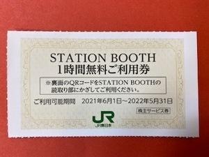 3枚 ☆ステーションブース1時間無料ご利用券☆JR東日本株主優待券・サービス券♪