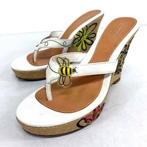 V ☆ 高級!! ラグジュアリー靴 'マルチ刺繍デザイン' COACH コーチ MATTIE ウェッジソール サンダル SIZE:7 レディース 婦人靴 シューズ