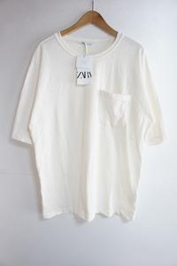 ZARAザラ ポケット Tシャツ 半袖カットソー ビッグシルエット オフホワイト白724L