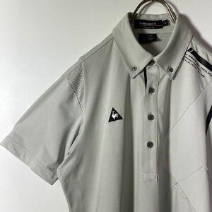 le coq sportif GOLF ルコックゴルフ ロゴ刺繍 ゴルフシャツ Mサイズ グレー メンズ 半袖 ポロシャツ デサント