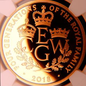 イギリス 2018年 英国王室の四世代 英国 5ポンド 金貨 NGC PF70UC Ultra Cameo【最高鑑定】