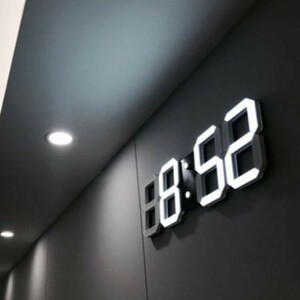 【激安】3d led ウォール クロック デザイン デジタル 置時計 アラーム 常夜灯 ホームリビングルーム 装飾