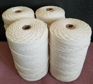 マクラメロープ 3mm × 200m 4個 セット / ロープ 編み糸 天然 コットン 100% 手作り コットン 壁飾り