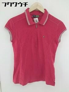 ◇ Arnold Palmer ハーフジップ ワンポイントロゴ フレンチスリーブ ポロシャツ サイズ36 レッド レディース 1106250007505