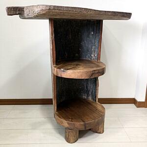 天然無垢 オールドチーク ウッド 3段 木製 ラック 花 本 棚 台 飾り台 インドネシア アジアン トレー テーブル 木木 レトロ ビンテージ家具