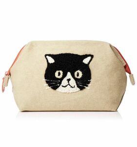 がま口ポーチ 化粧ポーチ 口 ファミネコ 黒猫 ネコ 猫柄 猫雑貨 猫グッズ 新品