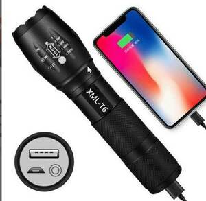 超明るいLED懐中電灯 ズーム 高輝度 防水LEDランプ USB入出力 高輝度ライト/USB充電式 キャンプ 夜釣り 自転車ライト
