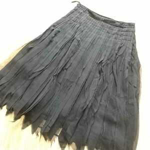63tpad】美品 MaxMara シルク100% シアー チュール プリーツスカート サイズ40 ブラック エレガンス 黒 マックスマーラ サイドボタン