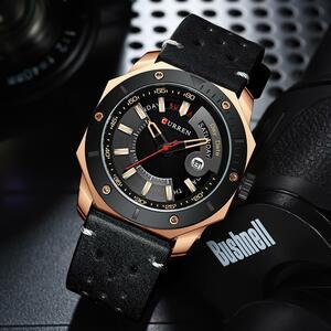 【最安値宣言】【目立った傷や汚れなし】CURREN高級ブランド腕時計カジュアルビジネス黒クォーツ時計男性時計レロジオmasculino