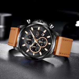 【中古売ります】【最安値に挑戦】2020 ligeファッションスポーツレザー腕時計メンズ高級日付防水クォーツクロノグラフレロジオmasculino