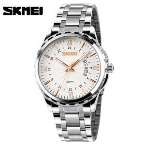 【最安値宣言】【目立った傷や汚れなし】Skmeiステンレス鋼クォーツ男性の腕時計ゴールドアナログ日付防水男性時計レロジオmasculino