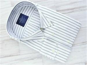 201008.214-4 CAPENTARIA ボタンダウン長袖ドレスシャツ ホワイト×グレーストライプ コンバーチブルカフス 6L(51-90) 形態安定 綿100%