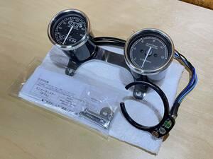 DAYTONA◆メーターSET(デイトナ 機械式 60mm ミニメーター スピードメーター タコメーター ビンテージメーター SR400 SR500 XS650)