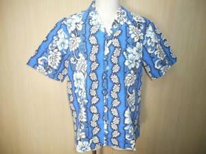 g80◆Royal Creationsアロハシャツ◆ロイヤルクリエーションズ M ハワイ製 ポリコットン 開襟 裏地使い 青色 HAWAIIAN レイ ハイビスカス3G