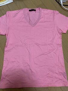 LITHIUM HOMME×kurkku Tシャツ プレオーガニックコットン VネックTシャツ ピンク