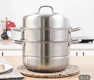 蒸鍋 蒸し鍋 蒸かし器 蒸し器 深型 ステンレス IH対応 ガラス鍋蓋付 3段