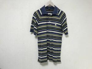 本物パーリーゲイツPEARLYGATESボーダー柄コットン半袖ポロシャツ4メンズ旅行トラベルゴルフ青ブルーXL