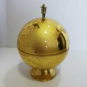ゴールド 金色 地球儀 ボール型 アイスペール 直径17cm×高さ26cm 樹脂製 [アルコールグッズ 地球型 Earth 置物 飾り物]