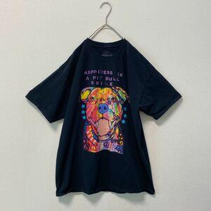 一点物 US古着 半袖Tシャツ アニマル柄 犬 ビッグシルエット XLサイズ 大きいサイズ ビッグプリント 黒色 ブラック プリントT
