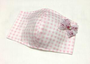 リボン レース インナー 立体 大人用 コットンパール ビジュー チェック柄 ピンク 白 かわいい ガーゼ 女性用 大きめ