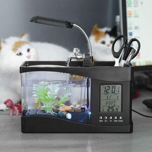 アクアリウム ミニ 水族館 水槽 USB LED ライト 装飾 水生植物 魚飼育 熱帯魚 展示 鑑賞 卓上 インテリア 自宅 2色 有