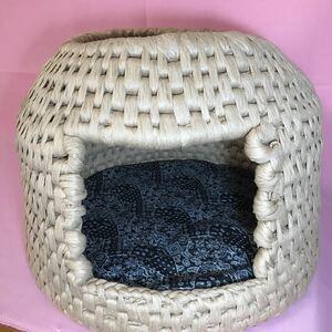 猫ちぐら 座布団付き ハンドメイド 紙紐 1点物 ねこちぐら キャット ペット用品 ねこベッド ねこハウス 紺屋商事株式会社の紙紐を使用 S29