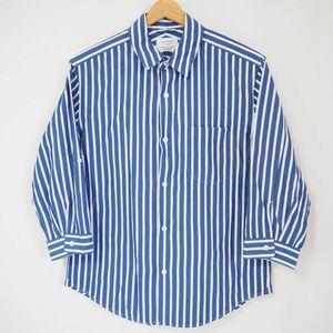 良品 EDIFICE エディフィス 5分袖 袖ロールアップ紐付き ストライプ柄 シャツ 青×白 051