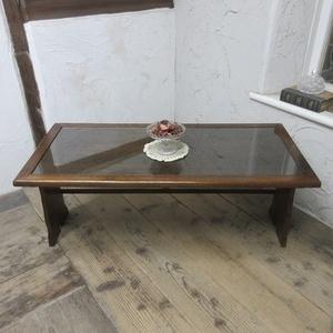 イギリス アンティーク 家具 コーヒーテーブル センターテーブル ガラストップ 飾り棚 木製 オーク 英国 SMALLTABLE 6975b
