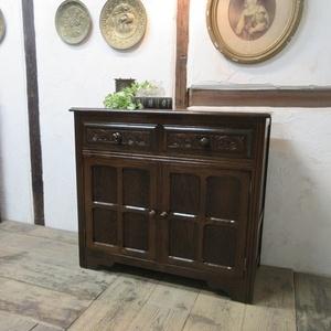 イギリス アンティーク 家具 サイドボード キャビネット 飾り棚 花台 収納 店舗什器 木製 オーク 英国 SIDEBOARD 6027c