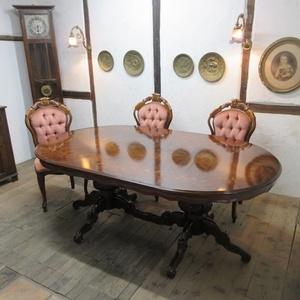 イギリス アンティーク 家具 ダイニングテーブル 象嵌天板 店舗什器 木製 英国 TABLE 6031c