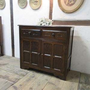 イギリス アンティーク 家具 サイドボード キャビネット 飾り棚 花台 収納 店舗什器 木製 オーク 英国 SIDEBOARD 6028c