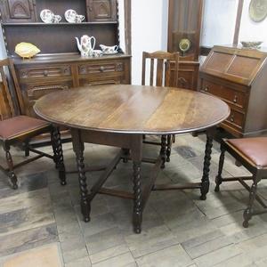 イギリス アンティーク 家具 ダイニングテーブル バタフライ ゲートレッグテーブル ツイストレッグ 木製 英国 TABLE 6044c