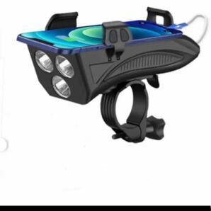 LED自転車ライト USB充電式 4in1機能搭載 4000mAh大容量 バイクライトセット IPX5防水 ベル付き