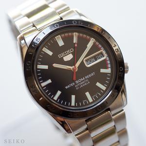 良品 稼働品 セイコー SEIKO 5 裏スケ 自動巻 7S26-02T0 21石 メンズ ウォッチ 腕時計 純正 ブレス ベルト SS 黒 文字盤 ブラック ファイブ