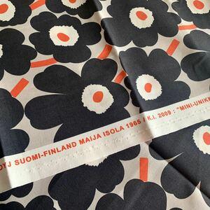 新品★marimekko はぎれ 生地 ミニウニッコ チャコールグレー オレンジ mini unikko 廃盤カラー マリメッコ