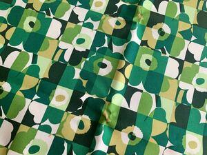 新品★marimekko はぎれ 裏面PVC生地 ミニルーツウニッコ グリーン 緑 mini ruutu unikko 撥水加工